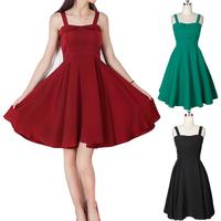 2014 New Women Audrey Hepburn Vintage 50s Rockabilly Womens Strap Swing Party Dress Red Black Green SIZE 8-16