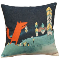 Animal Series Cartoon Style Lovely Red Fox Throw Pillow Case Decor Cushion Covers Square 18*18 Inch Beige Cotton Blend Linen
