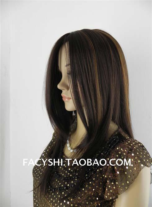 FS 24'' long straight midsplit women hairs fashion style simulation scalp auburn color wigs free wig net(China (Mainland))