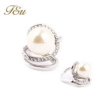 Fashion Rhinestone Pearl Rings For Women Elegant Zinc Alloy Ring Birthday Gift Pearl Jewelry New 2014  #245