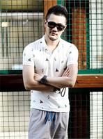 XNAN 2014 new casual shirt Paul shirt print lapel short-sleeved PL007 short-sleeve Comfort T-shirt For Metrosexual men