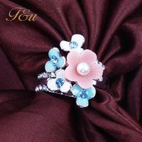 Lovely Christmas Big Sale Jewelry Ring Silver Plt Flower Elements Austrian Crystal White Enamel Flower Ring For Women #245