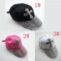 Retail 2014 new Retail 3 color Black 100%Cotton summer women baseball cap rhinestone unisex autumn Casual men Hats Free shipping