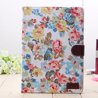 New Arrival Floral Print Pattern Leather Case Smart Cover for iPad 5 Air Wallet Stand Tablet Case with Card Solt Drop Shipping