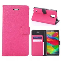 Fashion Lichee Pattern PU Leather Case Cover for Samsung Galaxy Note 4 N9100 Wallet Stand Case With Card Slot Free Screen Film