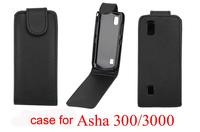 Pure Color Vertical Flip Leather Case for Nokia 300 Asha 3000 Black