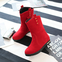 T1FYHBS-B607 High quality 2015 new arrived fashion mid-calf sexy Rivets flock flat ladies boots for women hot sale