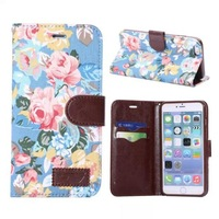 Fashion Floral Print Pattern PU Leather Cover Case for Apple iPhone 6 Plus 5.5 inch Wallet Stand Leather Case with Card Holder