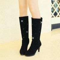 hot sale T1FYHBS-B609 2015 new arrived spring fashion rhinestone high heel slip-on knee high ladies boots for women