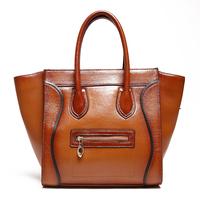 New Luxury Brand High Quality Vintage Fashion Smile100% Top Genuine Cow Leather Women Handbag Shoulder Messenger Bag Bags Lady