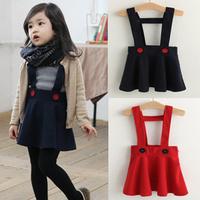 2014 Spring new children's dress strap dress cute baby wild woolen dress