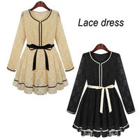 Women dress autumn lace elegent party evening dress office work wear sexy vestidos bandage robe femme desigual casual clothing