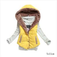 5900 2014 Winter Coat Women Slim Plus Velvet Vest Thermal  Cotton With Hood Down Vest Women all-match