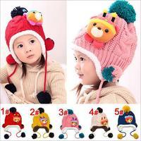 New 2015Beanie Baby Winter Hat for Girl Plus Velvet Cartoon Bear Child Cap Chapeu Infantil Winter Kids Hats Caps