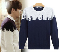 Hot-selling Male God Lee Min Ho Same Sweater Fashion Christmas Tree Hit Color  Sweater Free Shipping