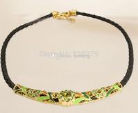 Wholesale - Genuine cowhide leather braided Collar Choker Enamel Austrian Crystal Rhinestone Colorful 18k gold plated tube Brand