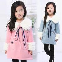 2014 Autumn Winter Girls Non-inverted Velvet Dress Dress Children Long Sleeve Princess Dress Kids Clothing Free Shipping 5PCS