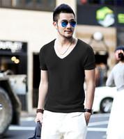 XNAN 2015 new V-neck short-sleeved knit shirt sweater casual sweater J-3 short-sleeve Comfort T-shirt For Metrosexual men