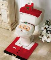 3pcs/set Christmas Decorations Happy Santa Toilet Seat Cover and Rug Bathroom Set HD0154