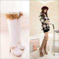 new 2014 pu leather platform red bottom high heels boots women knee high boots winter autumn shoes woman black beige white