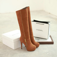 12 cm new arrived 2015 spring sexy DJ Party flock high heel zipper slip-on boots for women T1HR-C16 fashion ladies shoes