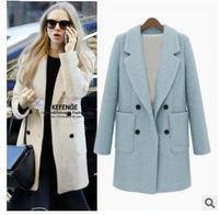 Women's Winter Woollen Jacket Double Bleasted Straight Style Big Pockets Lapel Overcoat Woollen Coat Dust Women Winter Outerwear