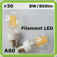 DHL shipping 100-240V 50 x 8W LED filament A60 850lm E27 = 80W incandescent bulbs