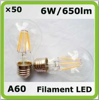 Wholesales DHL shipping 220V 230V 240V COB 6W led glass bulbs A60 650lm E27 = 60W incandescent bulbs