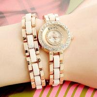black white GEANEL Brand Free Shipping Fashion Bracelet Watch  Women Watches Rhinestone Clock Quartz Watch Relogio Feminino