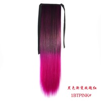Free shipping 2014 pop gradient ponytail hair extension synthetic pony tail ribbon hairpiece,straight long ponytails for women