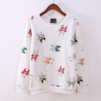 FS-2633 Free Shipping Fall Fashion 2014 Women Hoodies Sweatshirts Velvet Cartoon Sweater