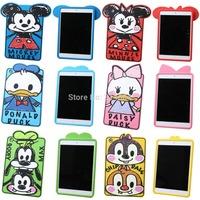 3D Cute Cartoon Graffiti Minnie Mickey Mouse Donald Daisy Duck Chip Goofy Rubber Silicone Case Cover For iPad mini mini 2 Retina