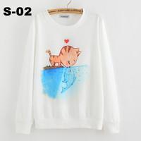 2014 New winter Hoody women Casual hoodies cat kiss fish print fleece inside long sleeve o neck letters sweatshirt for women Top