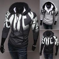 Hot New Men's Hooded Zip Fleece Letter Printing Slim Sweater, Men's Casual Fashion Sport Sweater Coat WY092
