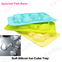 Fish Bone Mould Home Kitchen Dinning Bar Soft Silicon Ice Cube Brick Tray/Ice Cream Mold Maker. Free Shipping!