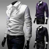 Hot British Men's Casual Oblique Zipper Large Lapel Solid Color Sweater Jacket, Men's Casual Fashion Jackets