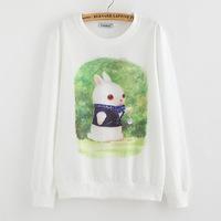 2015 New Brand Hoody women Casual hoodies Darling rabbit print fleece inside long sleeve o neck letters sweatshirt for women