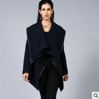 Women's Wool & Blends 2014 New Irregular Woolen Winter Jacket Long Zipper PU Edge Coats Winter Big Turn Down Collar Outercoat ML