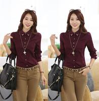 New 2014 Spring Patchwork Long-sleeved Women's Shirt Women Fashion Autumn Blouse Dress Shirt Professional Occupation