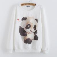 New 2015 winter tracksuits for women Loose long-sleeved The panda printing cotton sweatshirt Casual women's hooded sweatshirts