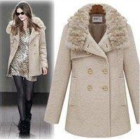 Women Big Fur Collar Outerwear 2014 New Woolen Trench Jacket Winter Thick Overcoats Warm Long Fashion Winter Beige Thick Jacket