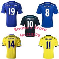Chelsea 2015 Soccer Jersey Blue Yellow Black HAZARD DIEGO COSTA SCHURRLE OSCAR DROGBA FABREGAS 14 15 Chelsea football shirts