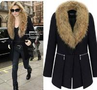 Women Big Fur Collar Winter Woolen Jacket 2014 New Arrival Thick Outwear Wool And Blend Coat Plus Size Long Warm L Xl XXL To 6xl