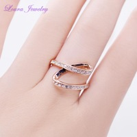High Quality 24K Gold Plated & Austria CZ Cyrstal Beautifull personality helical Ribbon inlay ring for couples all-purpose
