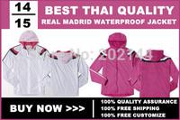 14/15 real madrid WATERPROOF Hoodie jacket, real madrid  Track Anthem Jacket white/pink color, size:S/M/L/XL