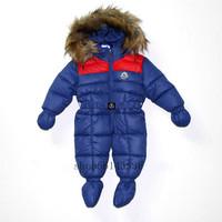 Free shipping  2014 new children's winter down jacket  Boy girls fashion fur collar down jacket  Baby down cotton gloves  Romper