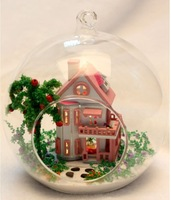 Free Shipping 2014 New DIY Glass Doll House Sunshine Alice,Assembling Wooden Toy for Kids with Miniature Furniture Led Lights