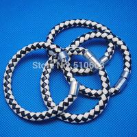 6 Pieces/Lot,New Imitation Leather Bracelet,Charms Jewelry Bracelet,Size: 19cm lenght 6cm diameters,white + black color