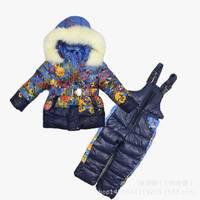 Free shipping 5 pcs/lot Winter Clothing baby girl Ski Suit Windproof Print Warm Coats Fur Jackets+Bib Pants girls sports suit