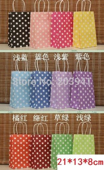 210*130*80mm/Hot/Polka Dot kraft paper gift bag/Festival gift bags/Paper bag with handles/wholesale(China (Mainland))